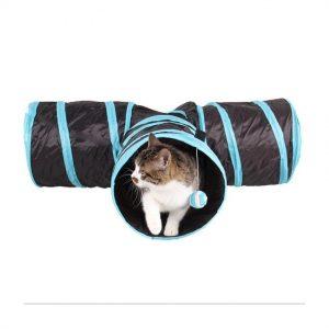 ของเล่นแมว อุโมงค์แมวสามทาง สีดำ ขนาด 25x30x80 ซม.