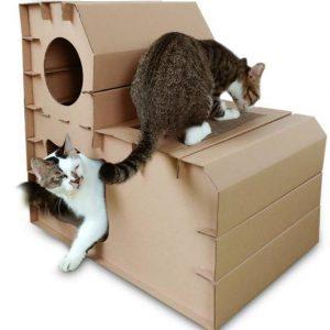 ของเล่นแมว บ้านแมวกระดาษ 2 ชั้น